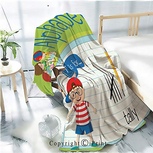 (AngelSept Printed Throw Blanket Smooth and Soft Blanket,Flashcard Letter T is for Tally for Sofa Chair Bed Office Travelling Camping,Kid Baby,W31.5 x H47.2 )