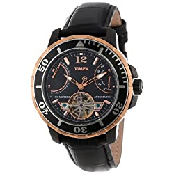 Timex Men's T2M9316K SL Series Rose Gold-Tone Stainless Steel and Black Leather Automatic Watch