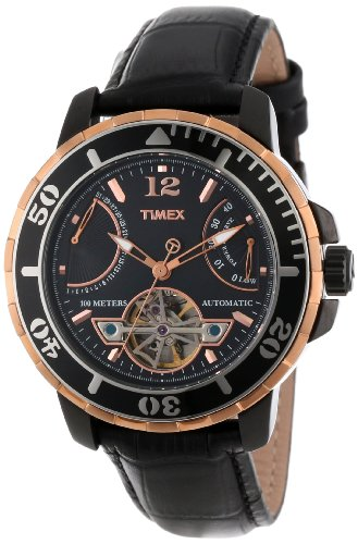 Timex Men s T2M9316K SL Series Rose Gold-Tone Stainless Steel and Black Leather Automatic Watch