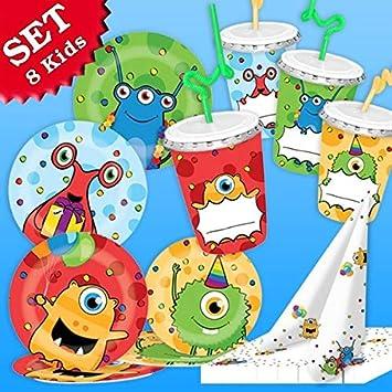 geburtstagsfee Monster Party - Juego de decoración, 52 ...