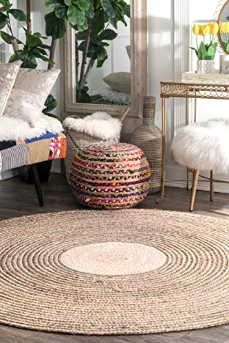 nuLOOM TADC01A Braided Jute Zoe Wool Rug, 8' Round, Multi