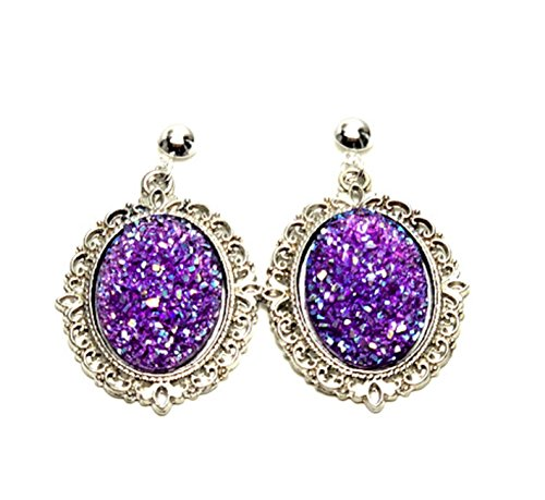 Trendy Fashion Cameo Hollow Lacework Cabochon Earrings for Women / AZEACS404-ASP