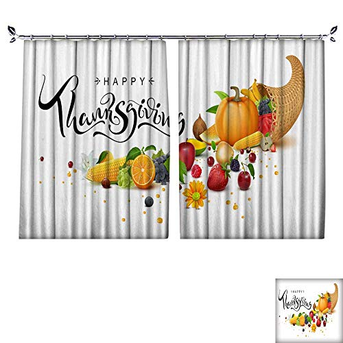 DragonBuildingMaterials Patterned Drape for Glass Door Happy Thanksgiving Day Handwritten Calligraphy Text Greeting Card Cornucopia Harvest W55 x L39