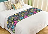 Custom Animal Bed Runner, Colorful Butterflies on Zebra Prints Bed Runners And Scarves Bed Decoration 20x95 inch