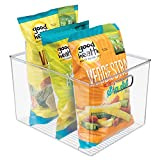 mDesign Plastic Food Storage Container Bin with Handles - for Kitchen, Pantry, Cabinet, Fridge/Freezer - Organizer for Snacks, Produce, Vegetables - BPA Free, Food Safe - 12'' x 10'' x 8'', Clear
