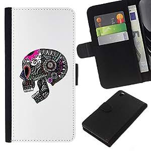 JackGot ( Cráneo divertido Muerte Blanco Rosa Negro ) HTC DESIRE 816 la tarjeta de Crédito Slots PU Funda de cuero Monedero caso cubierta de piel