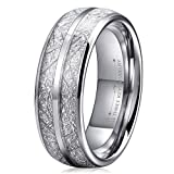 Three Keys 8mm Tungsten Wedding Ring for Men Domed Imitated Meteorite Inlay Mens Meteorite Wedding Band Engagement Ring Promise Ring Size 10
