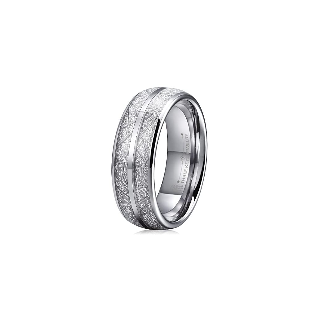 Three Keys Jewelry 8mm Imitated Meteorite Tungsten Wedding Ring Domed Mens Wedding Band Engagement Ring