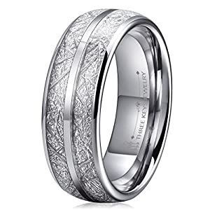 THREE KEYS JEWELRY 6mm 8mm Tungsten Wedding Rings Imitated Meteorite Inlay Silver Rose Gold Engagement Band for Men Women