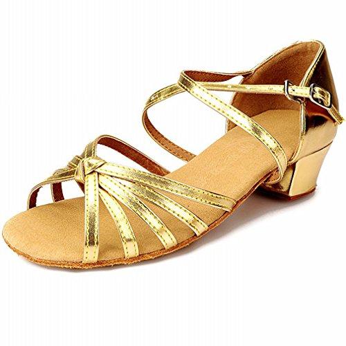 de de Zapatos Sandalias Baile Mujeres Zapatos Zapatos Cuero Oro Zapatos Oro 40 Tobillo Samba Baile Jazz Latino Cuero Modern de de de BYLE de de Baile ARxwvqPv