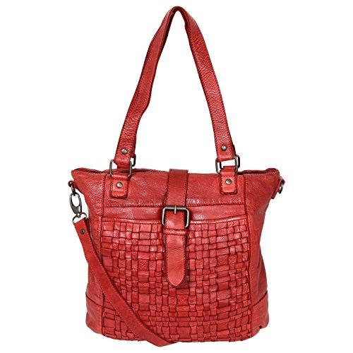 Bear Tracolla Intrecciato Rosso design Con Lavata Bag Borsa Pelle In Donna Shopper Cl32650 YYqUwr