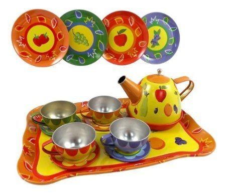 Playset Tin - Fruit Garden Tin Tea Party Set for Kids - Metal Teapot and Cups Kitchen Playset