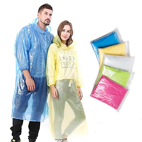 Emergency Disposable Rain Ponchos for Adults (5 Pack) with Drawstring Hood and Elastic Sleeve Ends, Portable and Thicker Rain Poncho Family Pack