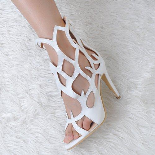 Kolnoo Damenschuhe High Heels Hollow Out Freie Toe Sandalen Zip Reissverschluss Schuhe Weiß