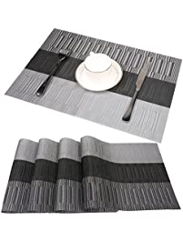 famibay bamboo pvc weave placemats non slip kitchen table mats set of 4 30x45. beautiful ideas. Home Design Ideas