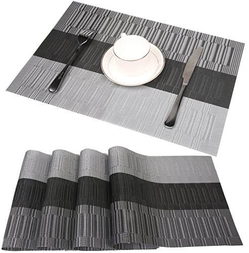 - famibay Bamboo PVC Weave Placemats Non-Slip Kitchen Table Mats Set of 4-30x45 cm (Color 6)