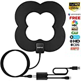 HD Digital TV Antenna, Best Amplified HDTV Antenna 50 Mile Range Support 4K 1080p, VHF UHF Freeview Channels with Detachable Amplifier, High Performance 10FT Coaxial Cable Power Adapter.