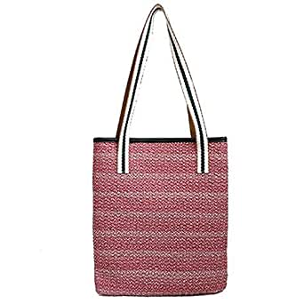 TOOGOO New Striped Woven Bag Wild Hit Color Women'S Shoulder Bag Casual Fashion Shopping Bag Red