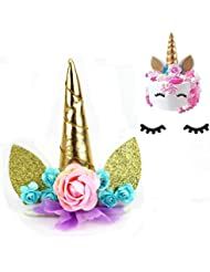 Lemoncy Gold Horn Cake Toppers Handmade Horn Birthday Cake Toppers Ears Eyelash and Flowers Set Party Decoration For Baby Shower Wedding and Birthday Party