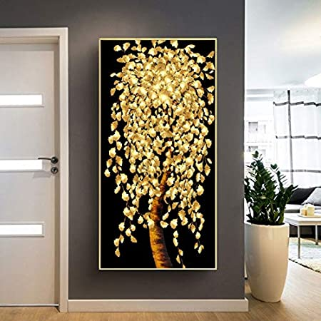 Geiqianjiumai Estilo nórdico Lienzo Arte Pared Hoja Oro y Dinero árbol HD Imprimir Cartel Modular Sala de Estar Pintura sin Marco 40x70cm: Amazon.es: Hogar