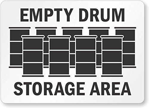 Empty Drum Storage Area (with Graphic), Aluminum Sign, 18