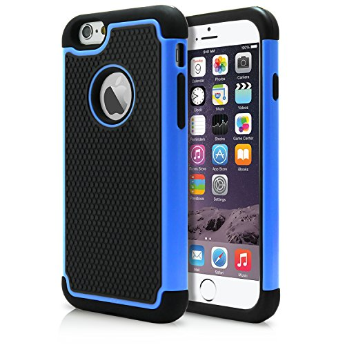 Ipod Carbon Fiber Skin - iPhone 6 Case, MagicMobile Rugged Dual Durable Armor Case for iPhone 6 Impact Resistant Shockproof Double Layer Hard Shell Case with Soft Flexible Black Silicone Skin Cover [ Color: Blue ] (Compatible Only with iPhone 6 [4.7])