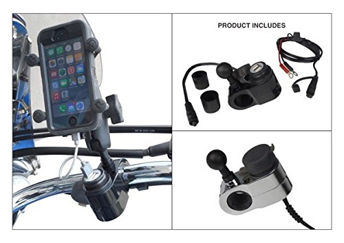 ATV/Motorcycle Handlebar USB Cell Phone Charging Mount with 1'' Ball for RAM Grips (Black)
