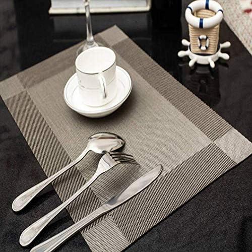 sets de table simples et dessous de verres Ensemble de 4 ZOORE sets de table 15.7 X11.8 Argent dessous de plat lavable r/ésistant /à la chaleur et aux nappes carr/ées