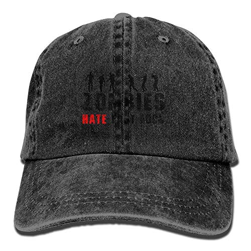 Zombie Hate Fast Food Vintage Style Vintage Washed Dyed Cotton Twill Low Profile Adjustable Baseball Cap Natural ()