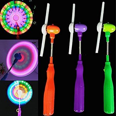 Potato001 Flashing Light Up LED Spinning Music Windmill Strip Shape Child Toy Gift: Toys & Games