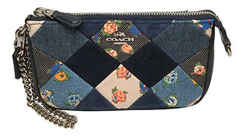 Coach F57609 Large Denim Patchwork Wristlet in Multicolor