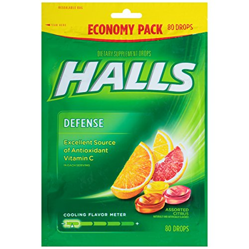 HALLS Defense Vitamin C Supplement Drops (Assorted Citrus, 80 Drops, 12 Pack, 960 Drops Total) Defense Lozenges Vitamins
