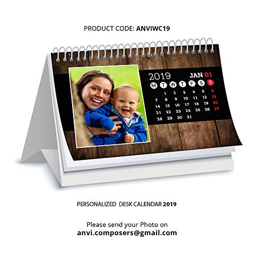 tecmac Personalized Glossy Paper 2019 Table/Desk Calendar with Personalised/Customized Photographs for Family/Friends (5.5 x 8.5 inch)