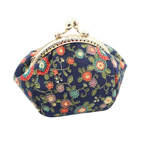 Wallet for Slim Change Casual HeySun Purse Ladies Pocket Lock Kiss Girls Navy Floral 2 Blue Coin tPxqHqBwp