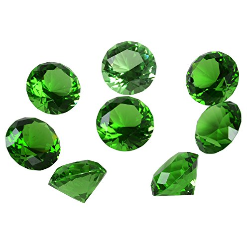 (LONGWIN 30mm(1.2 inch) Crystal Diamond Paperweight Birthstone Home Decor Pack of 8 (Green))
