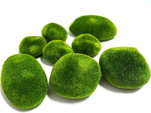 8 X Marimo Moss Balls Artificial Moss Stones Grass Turf Stones Mini Fairy Garden Micro Terrarium