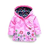 child raincoat - SODIAL(R) Children Hooded Jacket Boys Girls Jackets Coats Children's Coat Spring/Autumn Fashion Children Flower Raincoat Clothing(Pink 5T=120CM)