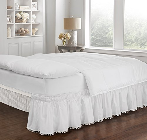 Easy Fit Pom Fringe Wrap Around Easy On/Off Dust Ruffle 18-Inch Drop Bedskirt, Twin/Full, White ()