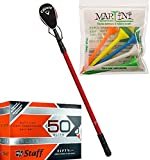 Bundle Includes Callaway ''15th Club'' Golf Ball Retriever and Wilson Staff Fifty Elite Golf Balls, Orange, Pack of 12 and Martini Golf 3-1/4'' Durable Plastic Tees 5-Pack (Assorted Colors)
