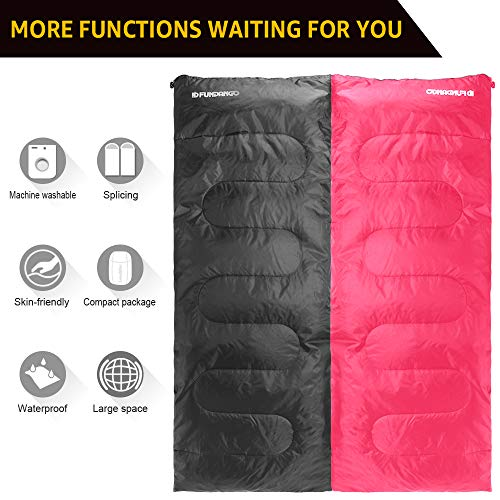 FUNDANGO Lightweight Sleeping Bag Compact Waterproof Rectangular/Envelope Cozy Portable Summer Backpacking Camping Hiking Sleeping Bags for Adults,Boys,Girls,Kids Extreme 4℃/39.2℉with Compression Sack
