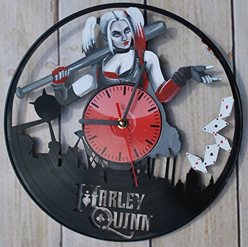 [Bad Girl Design HANDPAINTED Vinyl Record Wall Clock - Get Unique Bedroom or Living Room Wall Decor - Gift Ideas For His and Her - Unique Superhero Fan] (Robin From Arkham City Costumes)