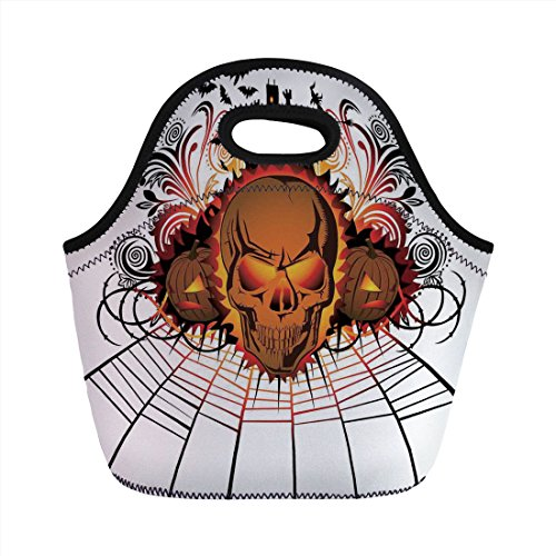 Neoprene Lunch Bag,Halloween Decorations,Angry Skull Face on Bonfire Spirits of Other World Concept Bats Spider Web,Multi,for Kids Adult Thermal Insulated Tote Bags