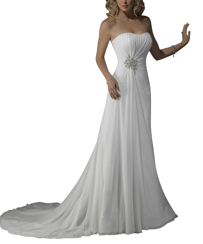 GEORGE BRIDE Simple Strapless Chiffon Over Satin Beach Wedding Dress