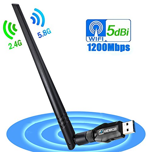 ANEWKODI Wireless USB 1200Mbps USB WiFi USB 3.0 Dual Band (2.4GHz/300Mbps + 5.8GHz/867Mbps) 802.11ac/b/g/n WiFi Adapter for PC/Desktop/Laptop, Support Windows 10/8.1/8/7/XP, Mac OS ()