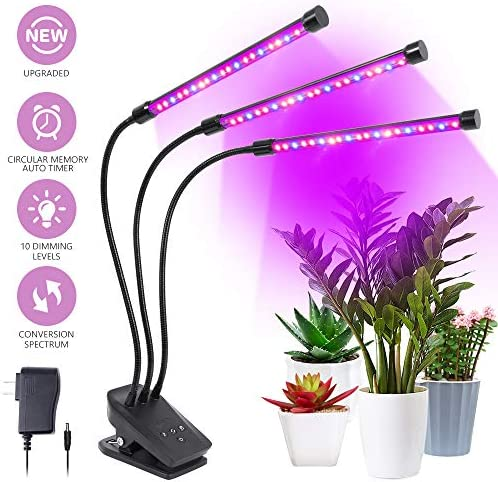 Grow Light, Plant Lights for Indoor Plants 30W 60 LED Plant Grow Lamp with Timer 3 6 12H Auto ON Off, 10 Dimmable Levels, 3-Head 360 Degree Adjustable Gooseneck