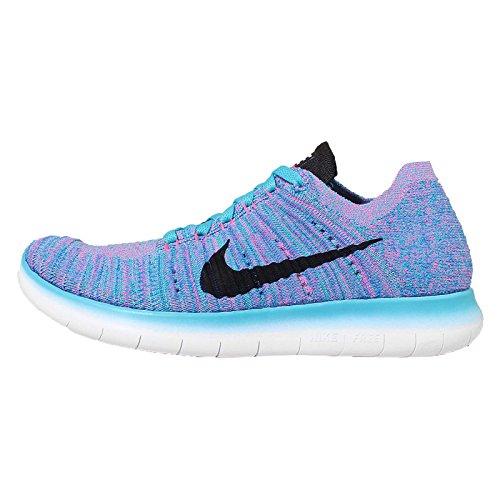 Nike Wmns Free Rn Flyknit, Zapatillas de Running Para Mujer Azul (Gamma Blue / Blk-Pht Bl-Pnk Blst)