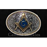 Limited Edition Masonic Lodge Mason Gold Silver Blue Belt Buckle Belts. Ships from Cornwall, Ontario, Canada.