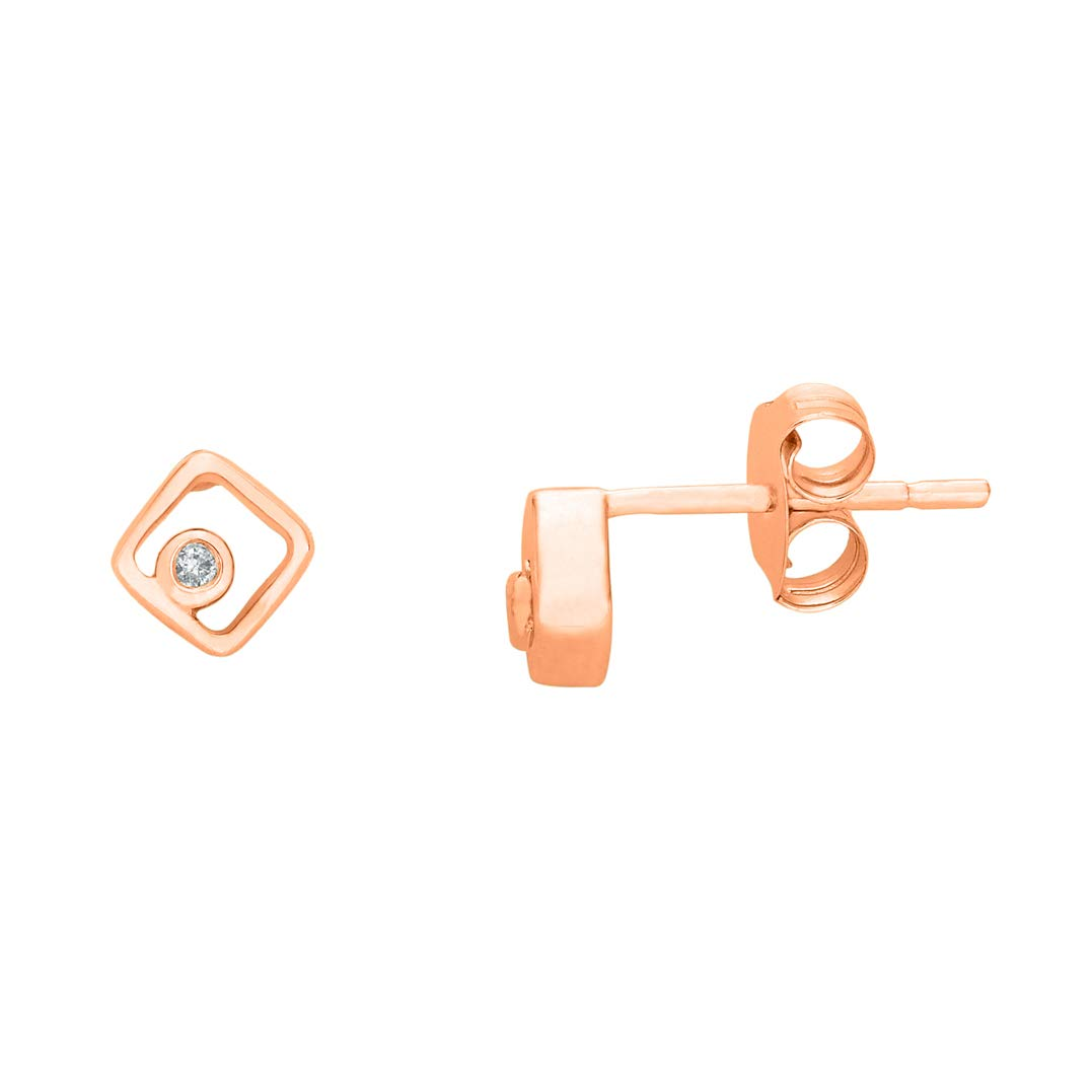 Ringjewels 0.02 Cts Round Sim Diamond Square Shape Stud Earrings For Girls 14K Gold Plated 925 Sterling