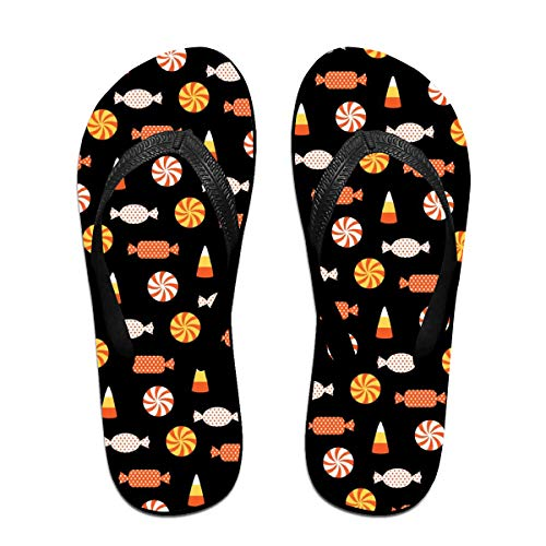 Sprutea Halloween Candy Vector Image Casual Flip Flop Sandals for Men and Women for Home Beach Or Shower Black for $<!--$18.60-->