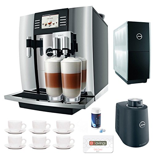 Jura Giga 5 13623 Cappuccino & Latte Macchiato System + $50 aSavings Gift Card + Jura Cup Warmer Black Stainless Steel and Jura Cool Control Milk Cooler + Accessory Kit
